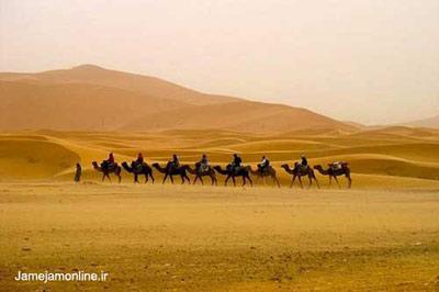 منظره یک کاروان در صحرای مرزوقه در مغرب . میشل کایلوس برای این عکس جایزه بهترین عکس این مسابقه عکاسی را دریافت کرد.