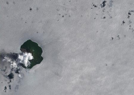 تصویر ماهواره ای از آتش فشان فعال در استرالیا که نشان دهنده گسترش خاکستر در منطقه وسیعی از اطراف دهانه است
