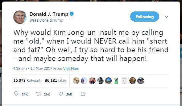 توئیت خیلی کودکانه ترامپ درباره رهبر کره شمالی+ تصویر