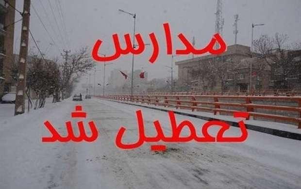 بارش برف مدارس اردبیل را تعطیل کرد