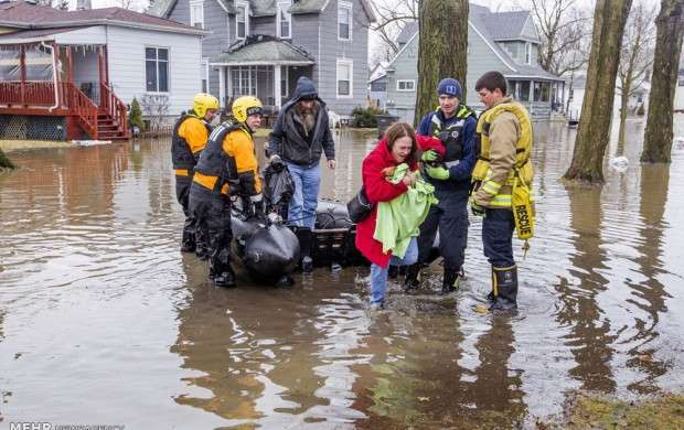 بارش شدید باران و سیل در آمریکا