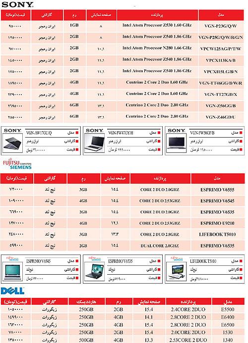 قیمت لپ تاپ در ایران